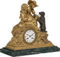 Clocks & Mechanical, A French Parcel Gilt Bronze Figural Mantle Clock, early 20th century. 15-3/4 x 16 x 8 inches (40.0 x 40.6 x 20.3 cm). ...