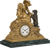 A French Partial Gilt Bronze Figural Mantle Clock, early 20th century 15-3/4 x 16 x 8 inches (40.0 x 40.6 x 20.3 c