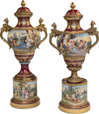 A Pair of Royal Vienna-Style Gilt Bronze Mounted Porcelain Covered Urns, Vienna, Austria, late 19th century Marks: