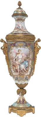A French Sevrés-Style Gilt Bronze Mounted Lustre Glazed Porcelain Covered Urn, circa 1900 Signed: Poitevin&lt...