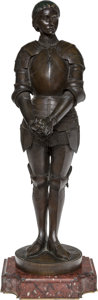 Sculpture, Ernest Barrias (French, 1841-1905). Jeanne d'Arc, 1898. Bronze with brown patina. 27 inches (68.6 cm) high on a 2-1/4 in...