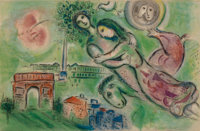 After Marc Chagall Romeo and Juliet, 1964 Lithograph in colors on Arches paper 25-3/4 x 40 inche