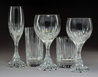 A Thirty-Four-Piece Group of Baccarat Glassware, France, post-1975 Marks: BACCARAT, (goblet-decanter-cu