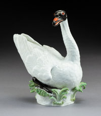 A Meissen Porcelain Swan Figure, Meissen, Germany, early 20th century Marks: (crossed swords in underglaze blue)
