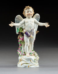 A Meissen Polychrome and Partial Gilt Porcelain Cupid Figure, Meissen, Germany, 20th century Marks: (crossed sword