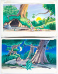 Animation Art:Production Drawing, Bambi Children's Book Background Illustrations Original Art Group of 2 (Walt Disney, c. 1990s)....