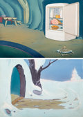 Animation Art:Painted cel background, A Sleepless Night Painted Backgrounds Original Art Group of2 (Terrytoons, 1948)....