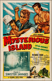 """Mysterious Island (Columbia, 1951). Folded, Fine+. One Sheet (27"""" X 41"""") Chapter 2 -- """"Sinister Savages.&..."""