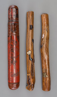 A Group of Three Japanese Carved Wood and Lacquer Pipe Cases 8-3/4 inches (22.2 cm) (longest)