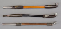 A Group of Three Japanese Shakudo, Silver and Metal Pipes, 19th century 7-3/4 inches (19.7 cm) (longest)