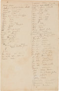 """Books:Manuscripts, Paul Gauguin. Tahitian or Polynesian-French Dictionary. AM. Fourpages (both sides of two separate sheets), 8"""" x 12.25""""; [Ta...(Total: 2 Items)"""