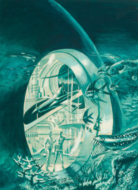 Wally Wood (American, 1927-1981) Undersea City book cover, 1958 Acrylic on board 16-3/4 x 12 in. Signed lower right