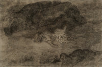 Antoine-Louis Barye (French, 1796-1875) A tiger sprawling among the rocks Ink, wash and charcoal on