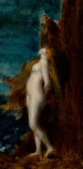 Paintings:Antique  (Pre 1900), Jean Jacques Henner (French, 1829-1905). Nue avec cheveux longs. Oil on board. 13 x 6-1/2 inches (33.0 x 16.5 cm). Signe...