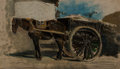 Paintings:Antique  (Pre 1900), Jozef Israels (Dutch, 1824-1911). The horse cart. Oil on paper laid on panel. 12-3/4 x 21-3/4 inches (32.4 x 55.2 cm). S...