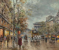 Antoine Blanchard (French, 1910-1988) Boulevard de la Madeleine Oil on canvas 18 x 21 inches (45.7 x 53.3 cm) Signed