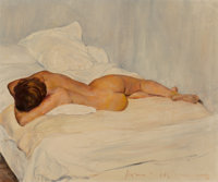 Jean-Paul Jacques Favre de Thierrens (French, 1895-1973) Sleeping nude Oil on canvas 18 x 21-1/2