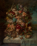 Paintings:Modern  (1900 1949), Hans Zatzka (Austrian, 1859-1945). Floral still life on a draped table with a bird's nest and butterflies. Oil on canvas...