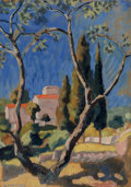 Works on Paper:Watercolor, Herbert Gurschner (German, 1901-2001). Mediterranean landscape. Gouache and watercolor on paper laid on board. 16 x 11-1...