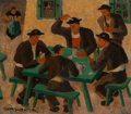 Fine Art - Painting, European:Modern  (1900 1949), Herbert Gurschner (German, 1901-2001). The card players. Oilon canvas. 9-1/2 x 10-1/2 inches (24.1 x 26.7 cm). Signed l...