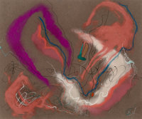 Rolph Scarlett (Canadian/American, 1889-1984) Untitled (Pink and Purple Forms) Pastel and gouache on