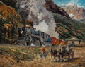 Fine Art - Painting, American:Modern  (1900 1949), James Deneen (American, 1930-2012). Western Train. Gouacheon board. 23-3/4 x 29-1/2 inches (60.3 x 74.9 cm). Signed low...