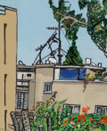 Paintings:Contemporary, David Reeb (Israeli, b. 1952). View of Tel-Aviv, 2003. Oil on paper mounted on canvas. 31 x 24-3/4 inches (78.7 x 62.9 c...