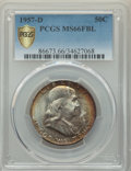 Franklin Half Dollars, 1957-D 50C MS66 Full Bell Lines PCGS Gold Shield. PCGS Population: (458/23 and 36/0+). NGC Census: (178/8 and 5/0+). MS66....