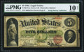 Large Size:Legal Tender Notes, Fr. 62 $5 1862 Legal Tender PMG Very Good 10 Net.. ...
