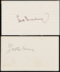 Autographs:Index Cards, Baseball Hall of Fame Signed Index Card Lot of 2: Greenberg, & Grove....