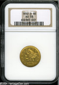 1852-D $5 AU58 NGC. With a mintage of 91,584 pieces, the 1852-D is one of the most available half eagles from this histo...