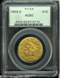Liberty Eagles: , 1859-O $10 AU50 PCGS....