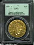 Liberty Double Eagles: , 1854-O $20 AU53 PCGS....