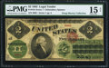 Large Size:Legal Tender Notes, Fr. 41b $2 1862 Legal Tender PMG Choice Fine 15 Net.. ...