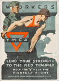 """Movie Posters:War, World War I Propaganda (United War Work Campaign, 1918). Rolled, Very Fine. Poster (20"""" X 27"""") """"Workers Lend Your Strength t..."""