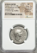 Ancients:Roman Imperial, Ancients: Hadrian (AD 117-138). AR cistophorus (27mm, 10.22 gm,6h). NGC VF 5/5 - 3/5, Fine Style, overstruck, graffito. ...