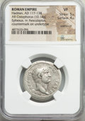 Ancients:Roman Imperial, Ancients: Hadrian (AD 117-138). AR cistophorus (26mm, 10.14 gm,7h). NGC VF 5/5 - 4/5, overstruck, countermark on undertype....