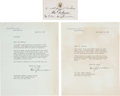 Autographs:U.S. Presidents, Harry Truman Typed Letters (2) Signed with Related Letters andPhotographs Concerning the White House Reconstruction...