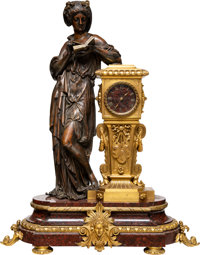 A Napoleon III Patinated and Gilt Bronze Figural Clock on a Rosso Antico Marble Base, mid-19th century Marks to me