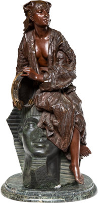 After Gaston Veuvenot Leroux (French, 1854-1942) Aida Bronze with polychrome 29 inches (73.7 cm)