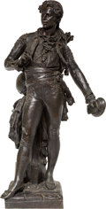Sculpture, After Amadee Donatien Doublemard (French, 1826-1900). Troubadour. Bronze with brown patina. 33 inches (83.8 cm) high. In...