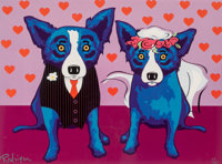 George Rodrigue (1944-2013) The Newlyweds, 2007 Screenprint in colors on paper 20 x 25 inches (50