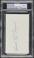 "Autographs:Index Cards, c. 1960s Harold ""Pie"" Traynor Signed Index Card, PSA/DNA Mint 9...."