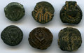 Ancients:Ancient Lots  , Ancients: ANCIENT LOTS. Judaea. Ca. 103 BC-AD 36. Lot of six (6) AEprutah. Fine-XF.... (Total: 6 coins)