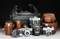 Collectible, Three Voigtländer 35mm SLR Cameras with Lenses, Braunschweig, Germany, circa 1960. Marks: Voigtländer, MADE IN WEST GERMAN...
