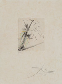 Salvador Dalí (Spanish, 1904-1989) L'illisioniste, from The Magicians, 1968 Engraving with handcoloring on Japon...