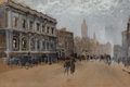 Fine Art - Painting, American:Contemporary   (1950 to present), Joseph Pennell (American, 1857-1926). The Banqueting Hall,Whitehall, London. Watercolor on paper laid on board. 9-1/4x...