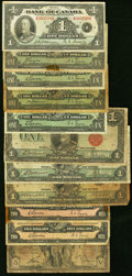 World Currency, Canada A Circulated Assortment of Canadian Government and PrivateBank Issues. Very Good or Better.. ... (Total: 11...