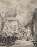 Prints & Multiples:Print, Rembrandt van Rijn (Dutch, 1606-1669). The Death of the Virgin, 1639. Etching and drypoint on laid paper with Strasburg ...