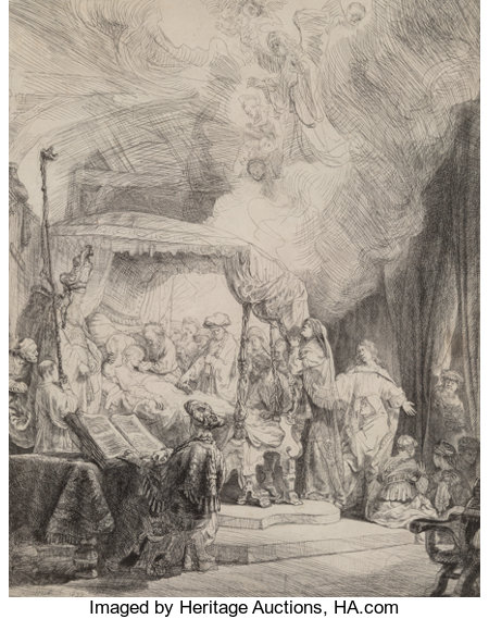 Rembrandt van Rijn (Dutch, 1606-1669)The Death of the Virgin, 1639Etching and drypoint on laid paper with Strasburg ...